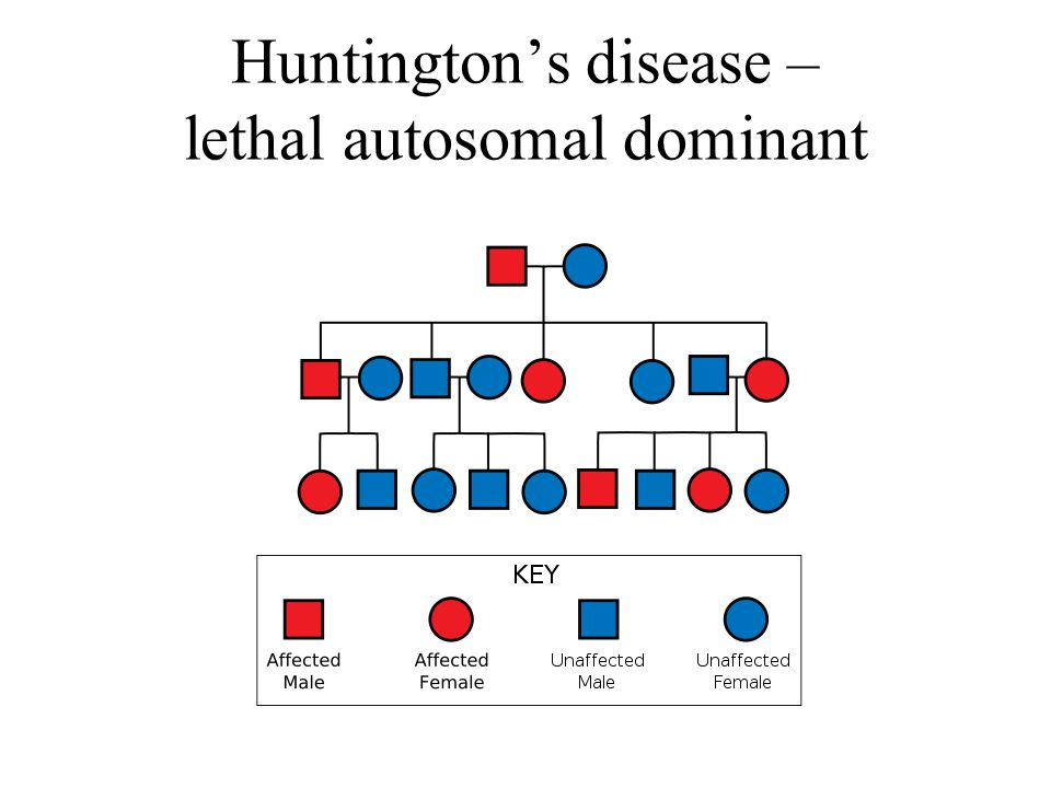 Huntington's disease – lethal autosomal dominant
