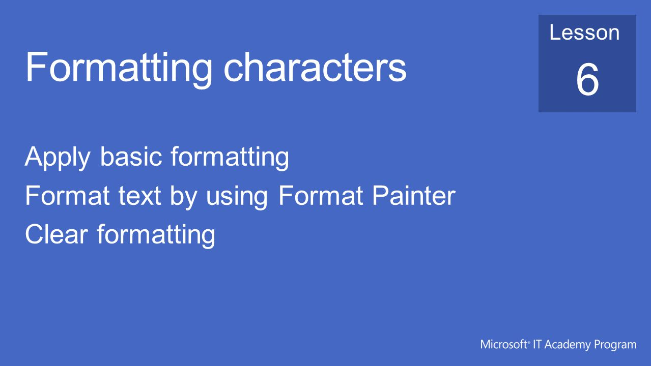 Formatting characters