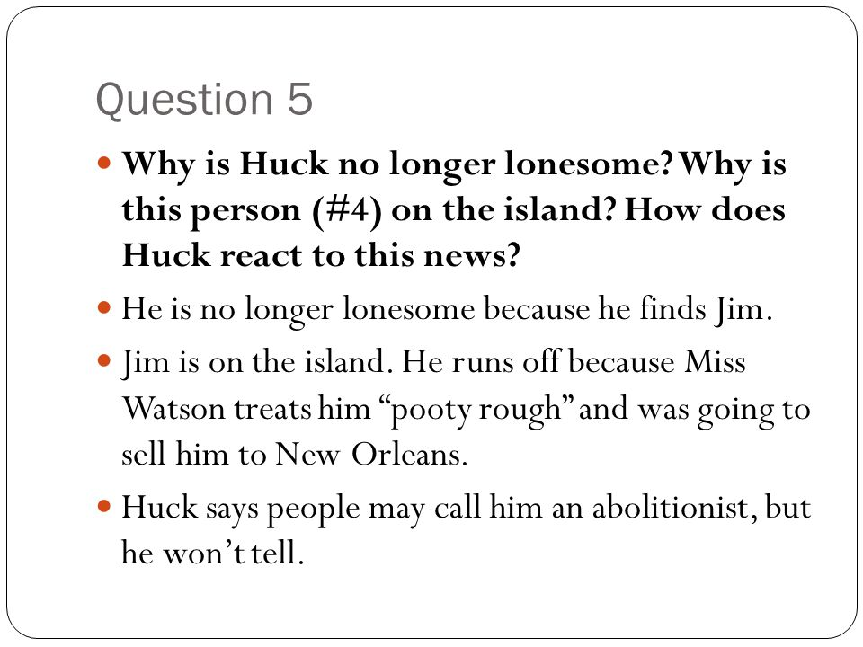 Question 5 Why is Huck no longer lonesome Why is this person (#4) on the island How does Huck react to this news