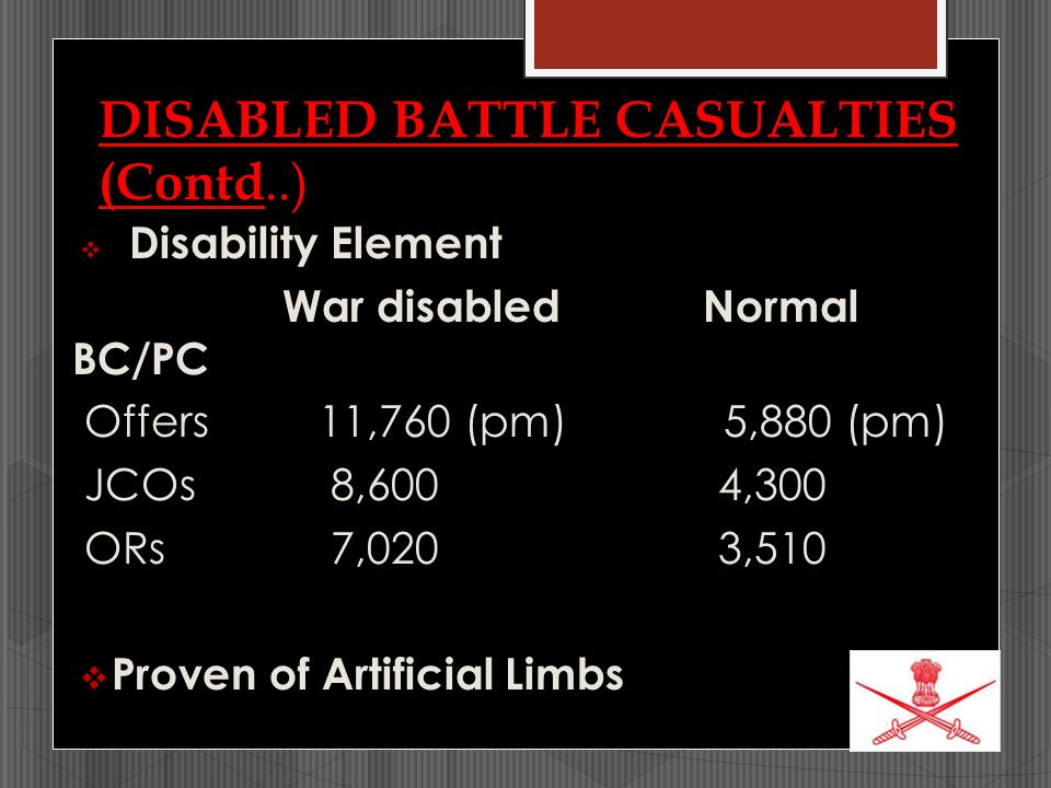 DISABLED BATTLE CASUALTIES (Contd..)