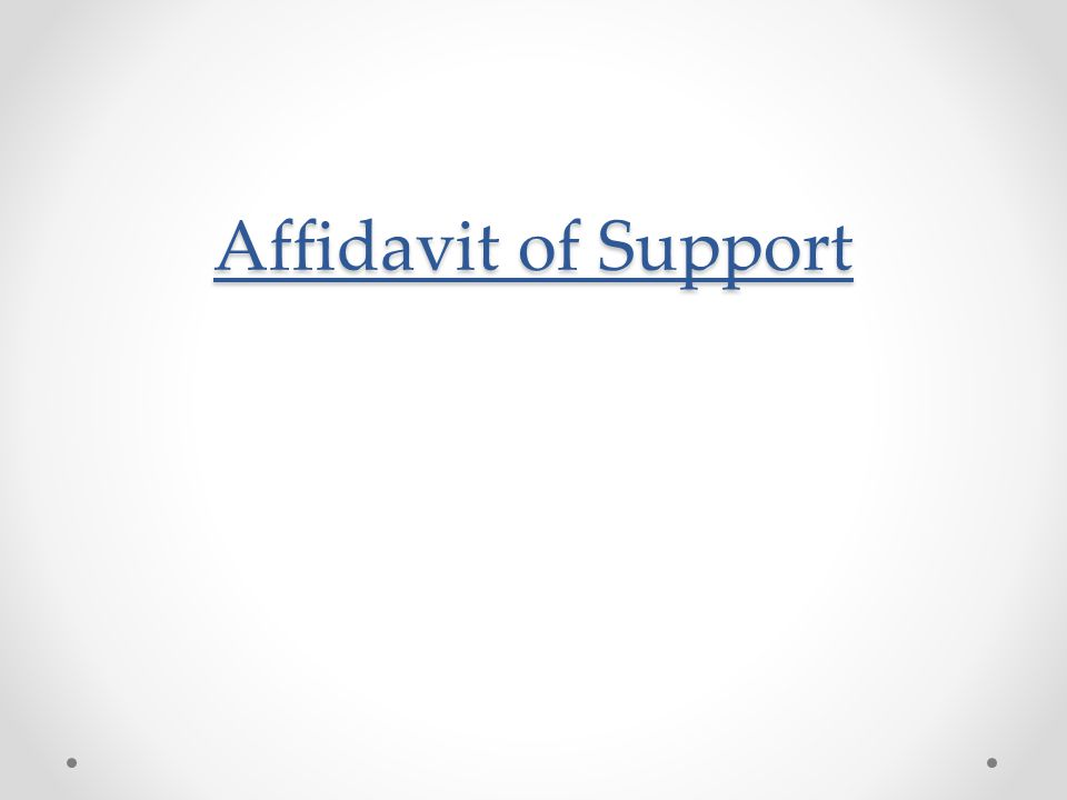 Affidavit of Support