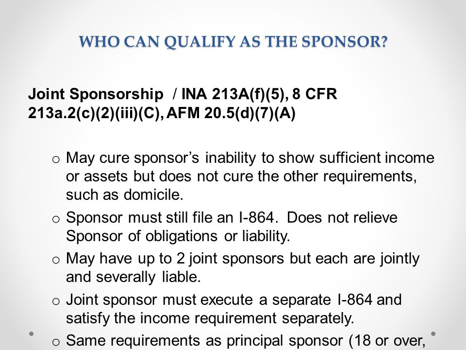 WHO CAN QUALIFY AS THE SPONSOR