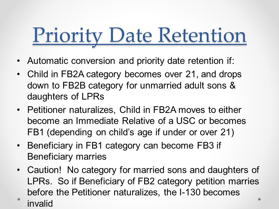 Priority Date Retention
