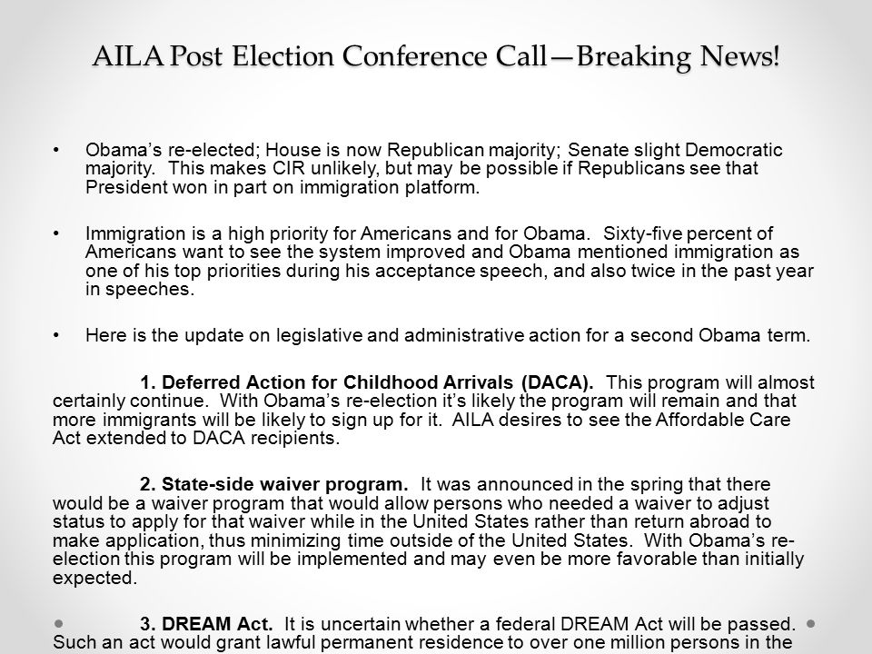 AILA Post Election Conference Call—Breaking News!