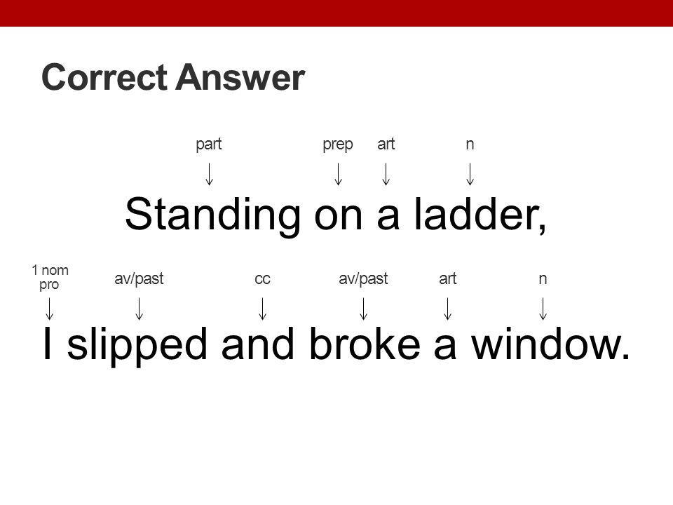 Standing on a ladder, I slipped and broke a window.