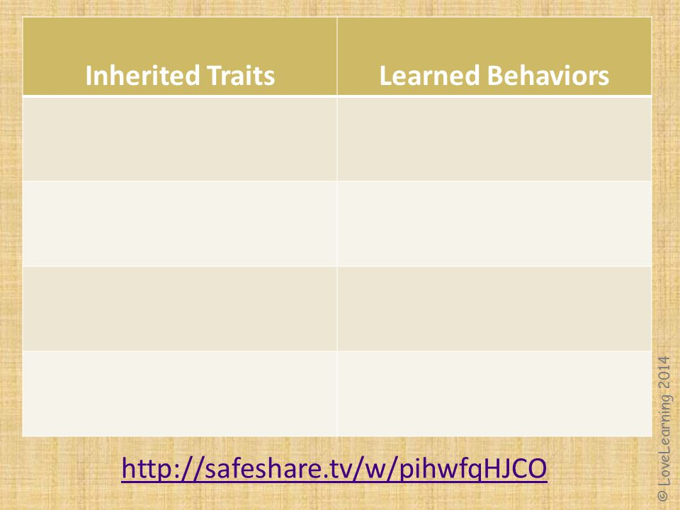Inherited Traits Learned Behaviors