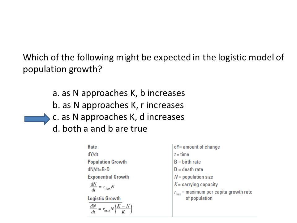 Which of the following might be expected in the logistic model of