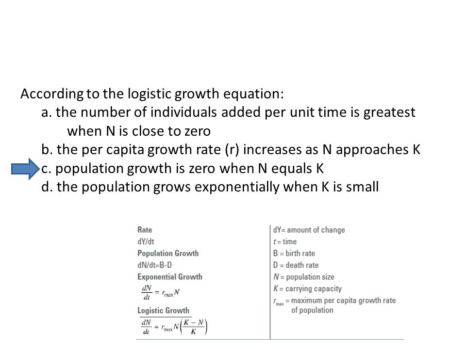 According to the logistic growth equation:
