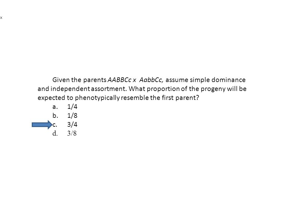 Given the parents AABBCc x AabbCc, assume simple dominance and independent assortment. What proportion of the progeny will be expected to phenotypically resemble the first parent