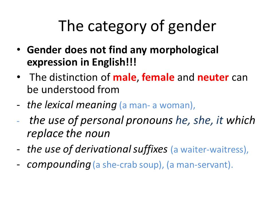 The category of gender Gender does not find any morphological expression in English!!!