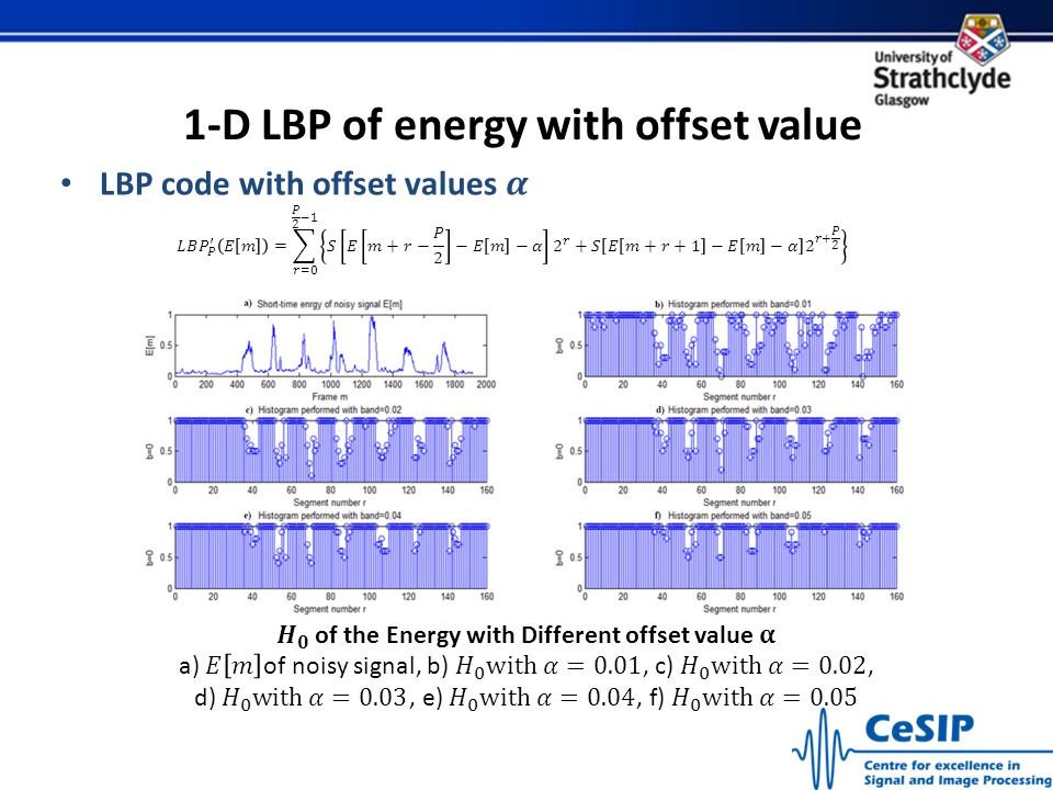 1-D LBP of energy with offset value