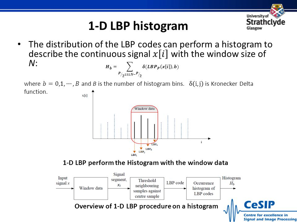 1-D LBP histogram The distribution of the LBP codes can perform a histogram to describe the continuous signal 𝑥 𝑖 with the window size of N: