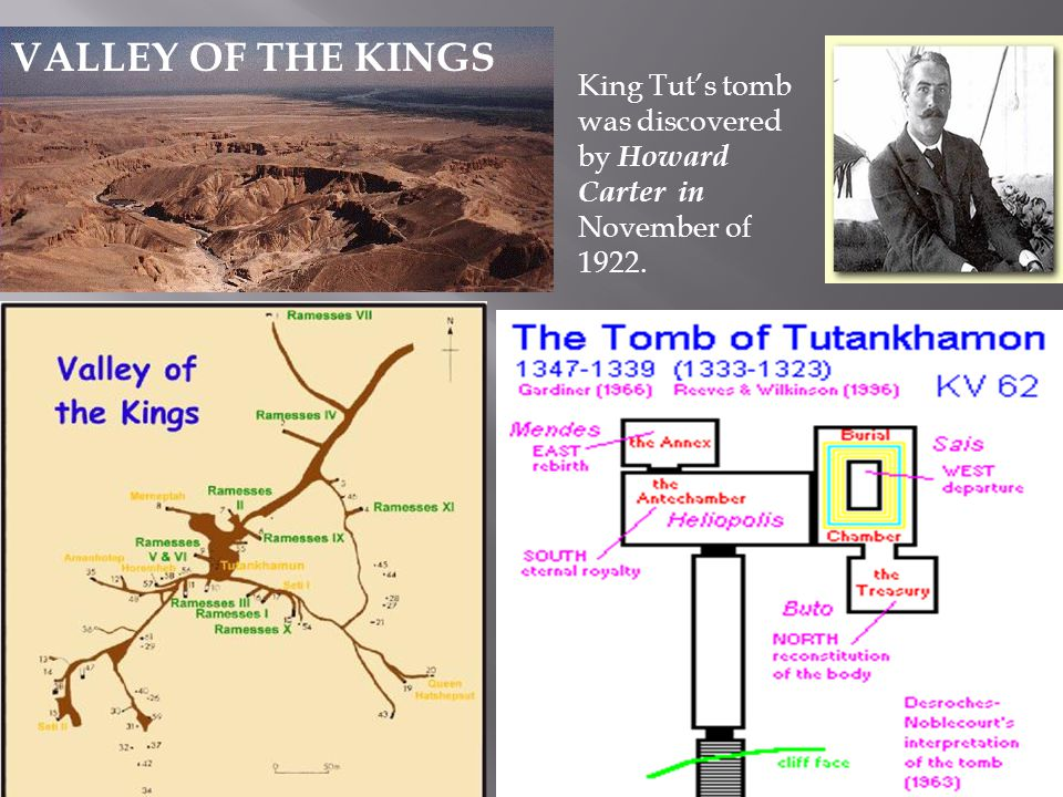 VALLEY OF THE KINGS King Tut's tomb was discovered by Howard Carter in November of 1922.