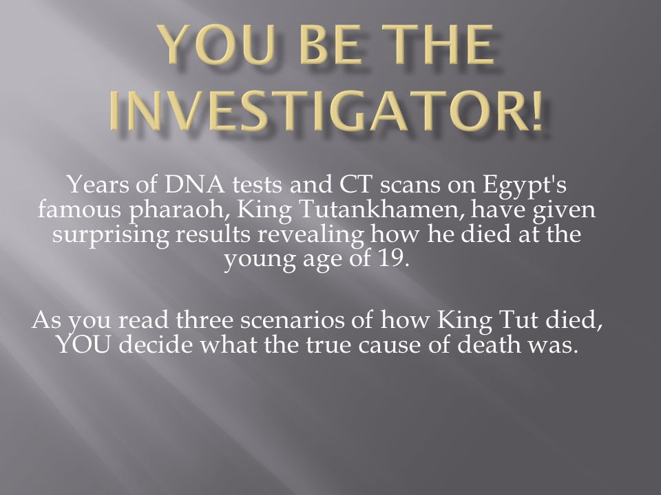 You be the investigator!