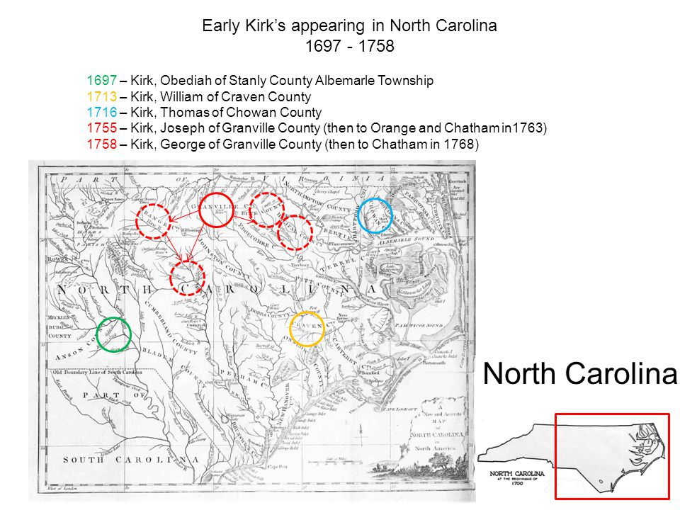 Early Kirk's appearing in North Carolina