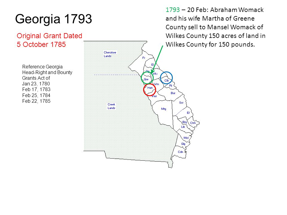 1793 – 20 Feb: Abraham Womack and his wife Martha of Greene County sell to Mansel Womack of Wilkes County 150 acres of land in Wilkes County for 150 pounds.