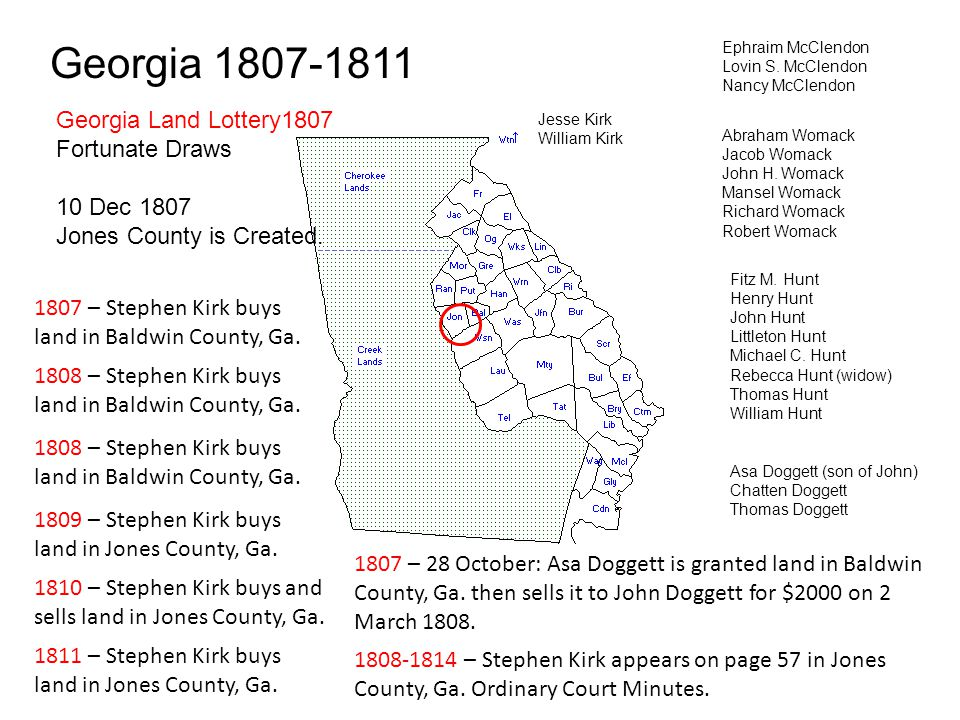 Georgia 1807-1811 Georgia Land Lottery1807 Fortunate Draws 10 Dec 1807