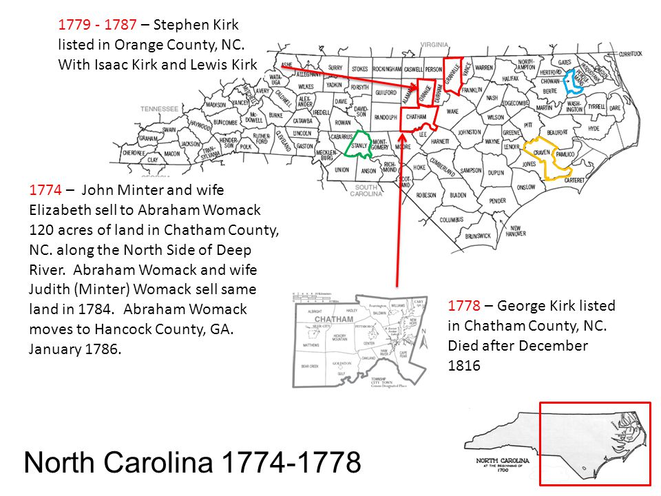 1779 - 1787 – Stephen Kirk listed in Orange County, NC.