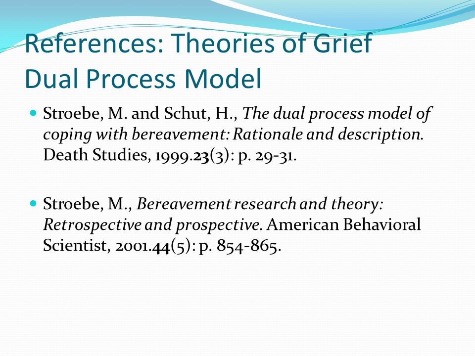 References: Theories of Grief Dual Process Model