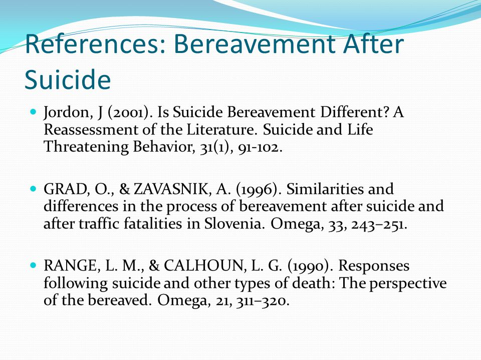 References: Bereavement After Suicide