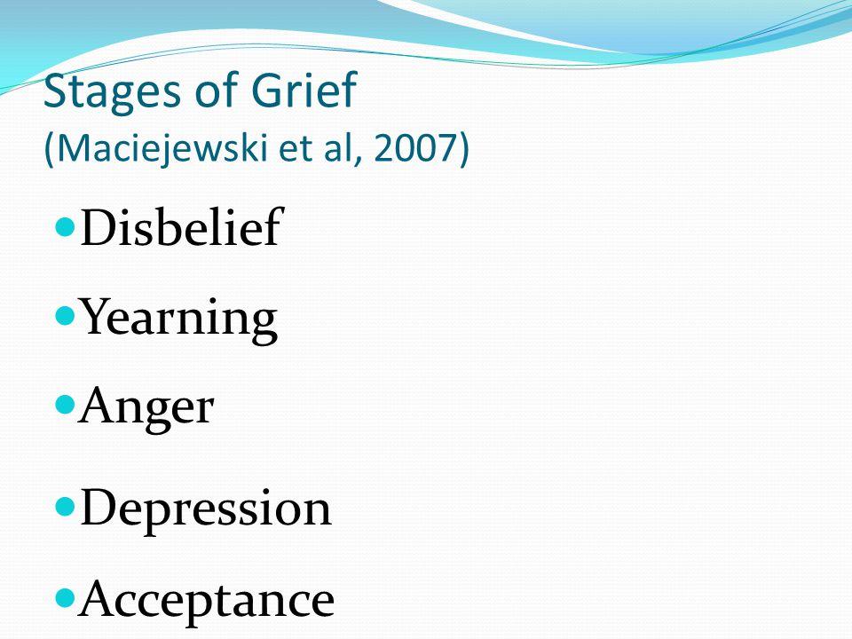 Stages of Grief (Maciejewski et al, 2007)