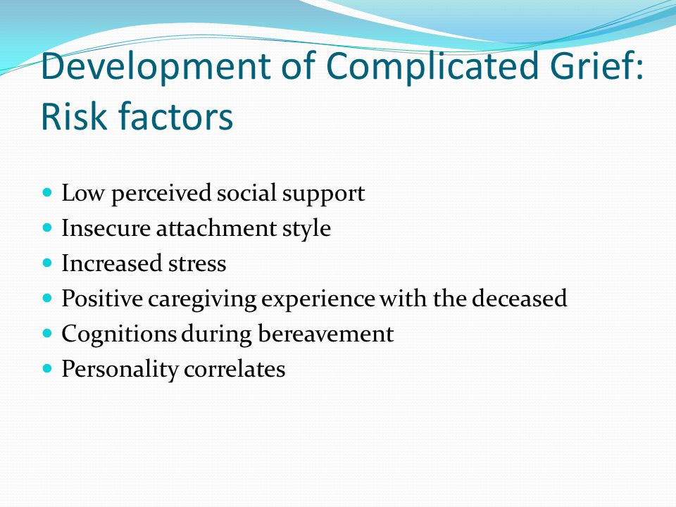Development of Complicated Grief: Risk factors