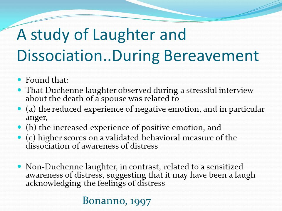 A study of Laughter and Dissociation..During Bereavement