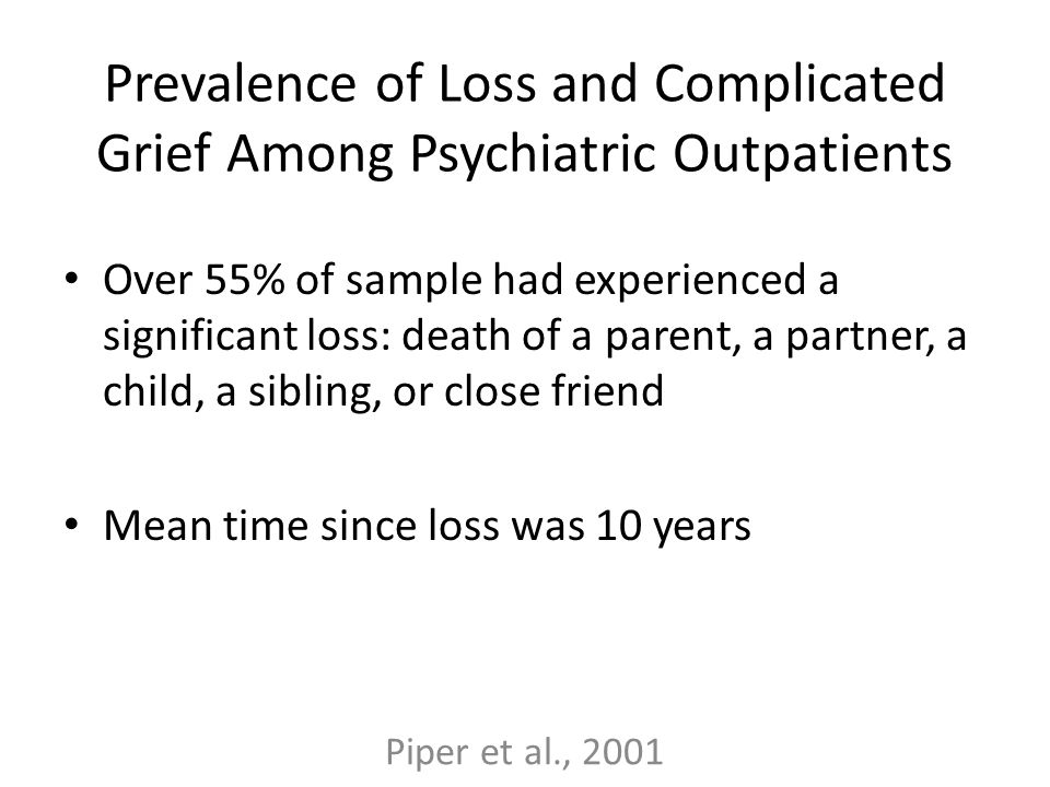 Prevalence of Loss and Complicated Grief Among Psychiatric Outpatients