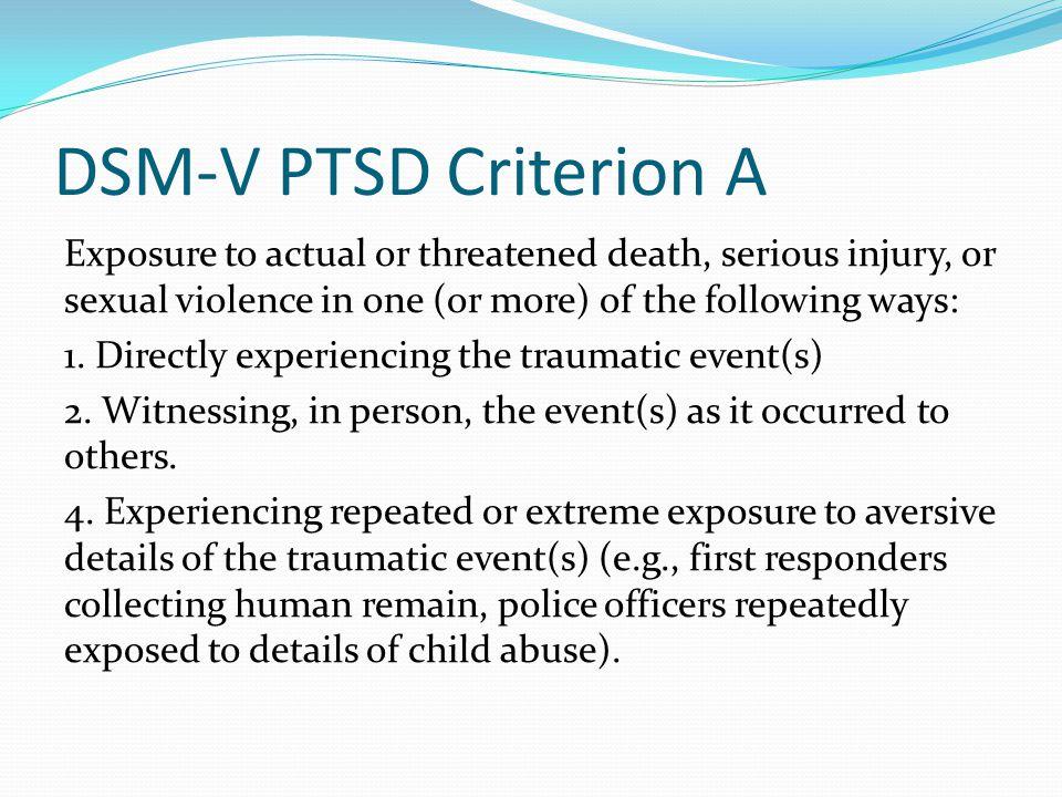 DSM-V PTSD Criterion A