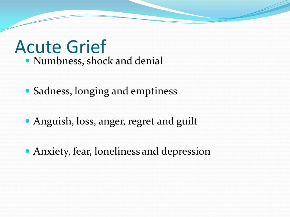 Acute Grief Numbness, shock and denial Sadness, longing and emptiness
