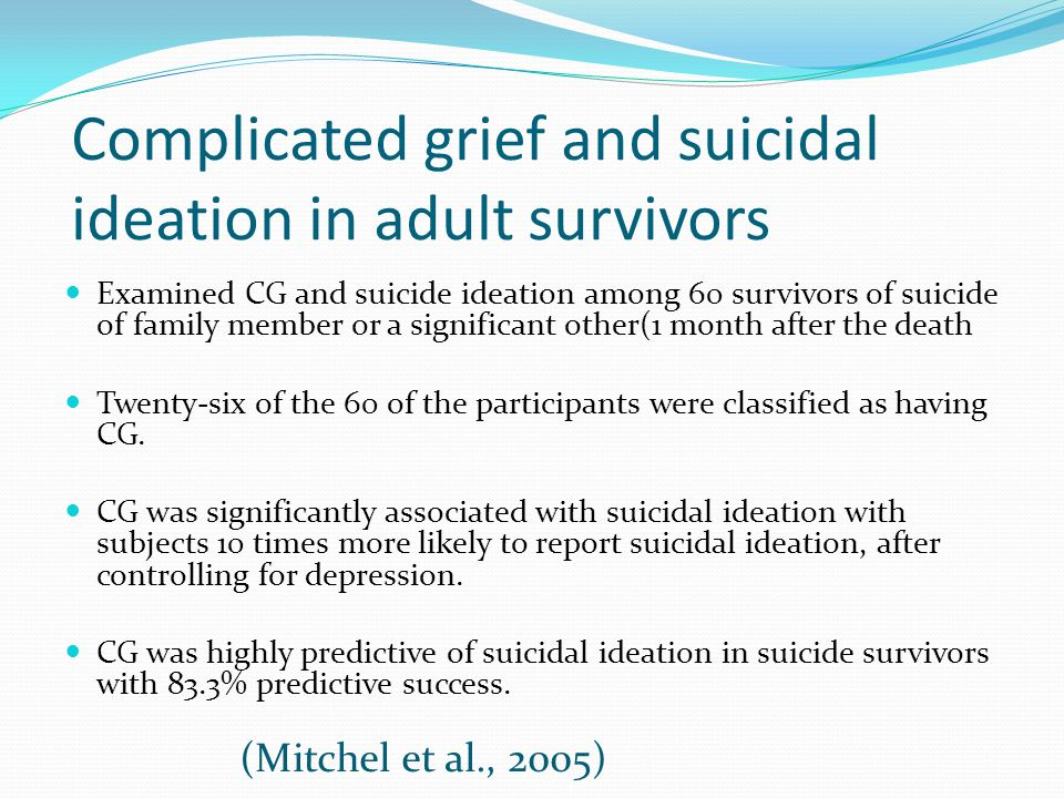 Complicated grief and suicidal ideation in adult survivors