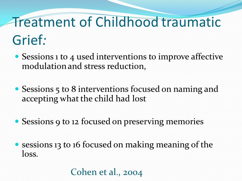 Treatment of Childhood traumatic Grief: