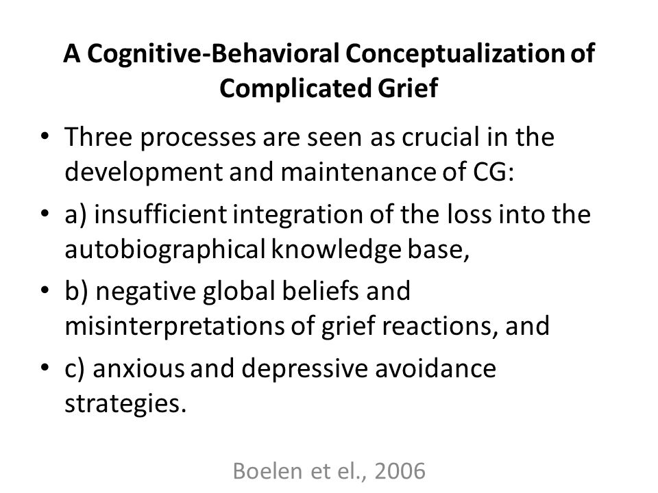 A Cognitive-Behavioral Conceptualization of Complicated Grief