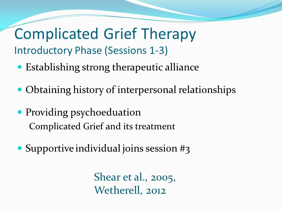 Complicated Grief Therapy Introductory Phase (Sessions 1-3)