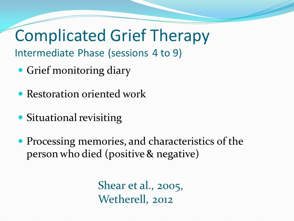 Complicated Grief Therapy Intermediate Phase (sessions 4 to 9)