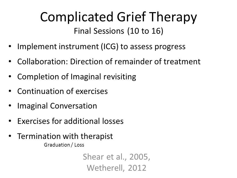 Complicated Grief Therapy Final Sessions (10 to 16)