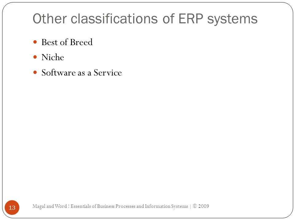 Other classifications of ERP systems