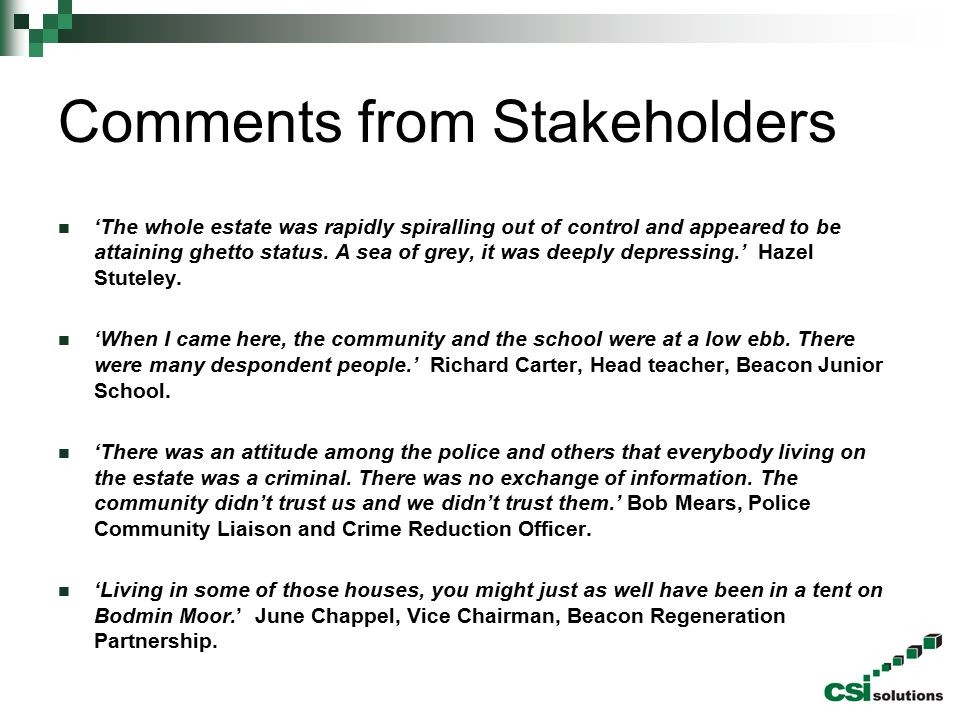 Comments from Stakeholders
