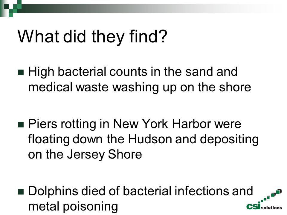 What did they find High bacterial counts in the sand and medical waste washing up on the shore.