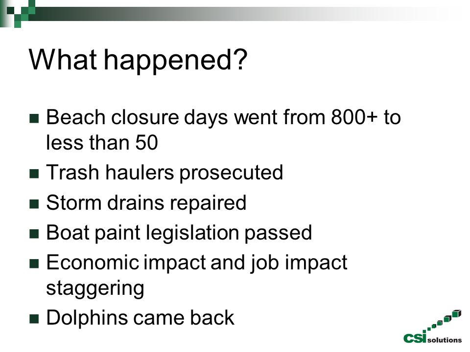 What happened Beach closure days went from 800+ to less than 50