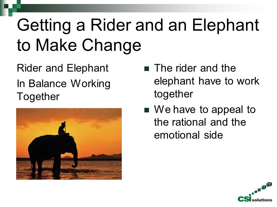 Getting a Rider and an Elephant to Make Change