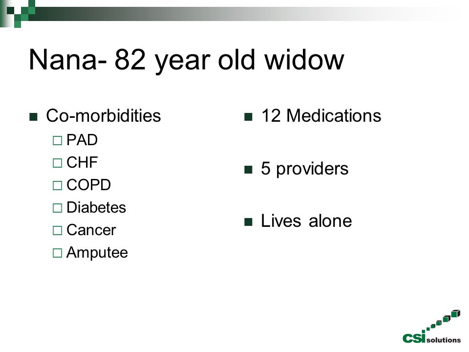 Nana- 82 year old widow Co-morbidities 12 Medications 5 providers