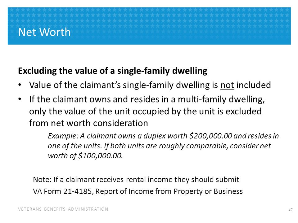 Net Worth Dual Use of Property