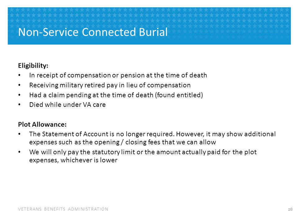 Service Connected Burial and Transportation