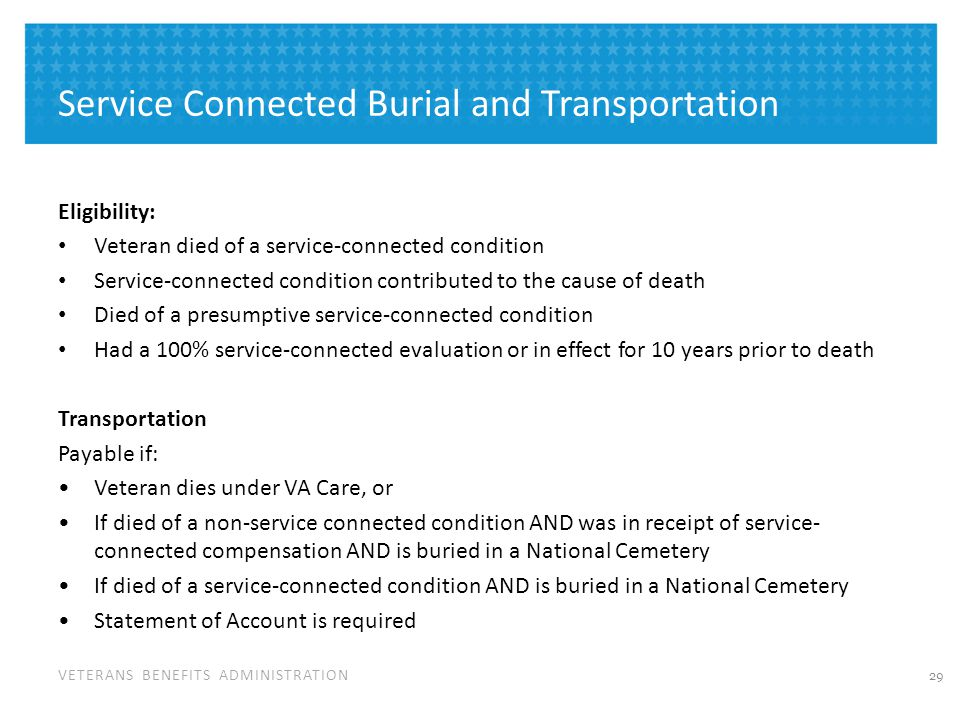 Changes to Burial Benefits