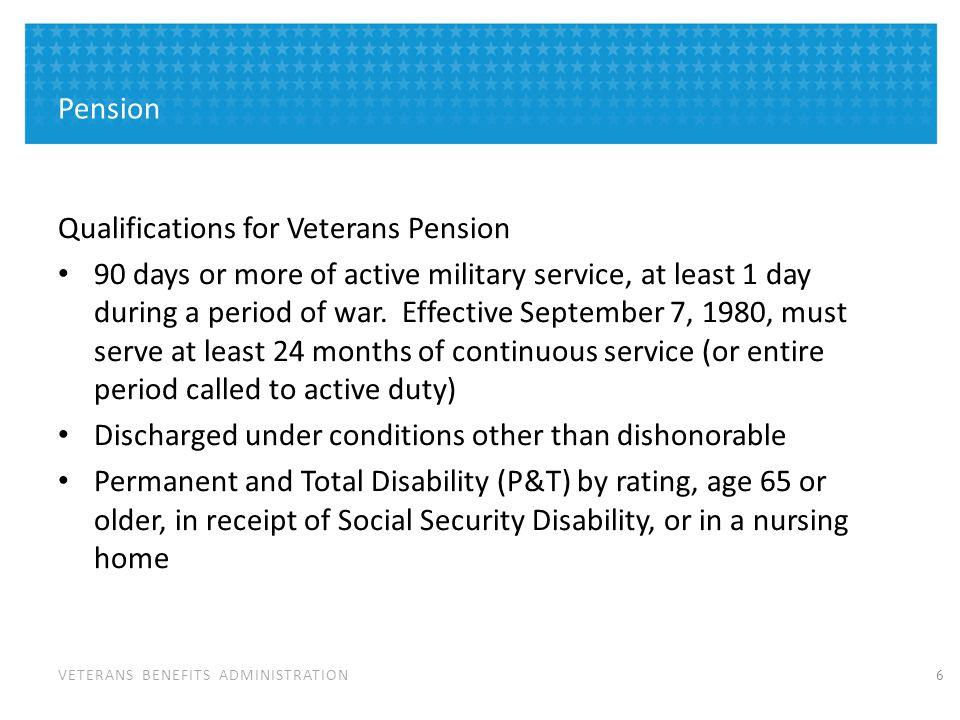 Qualifications for Survivors Pension