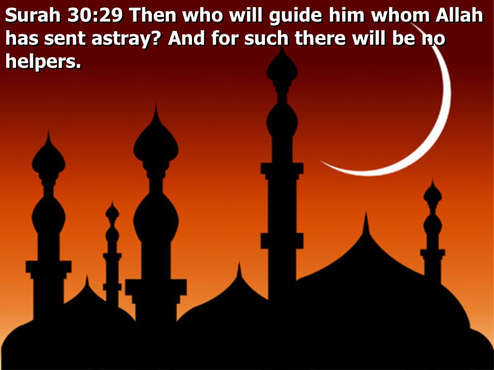 Surah 30:29 Then who will guide him whom Allah has sent astray