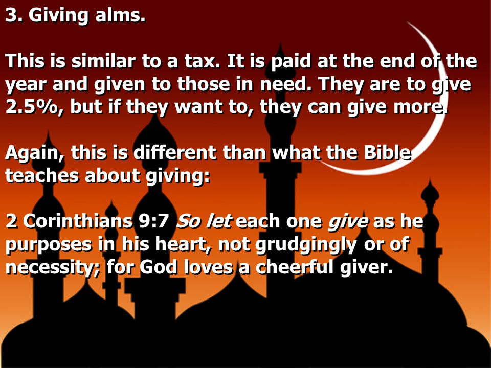 3. Giving alms.