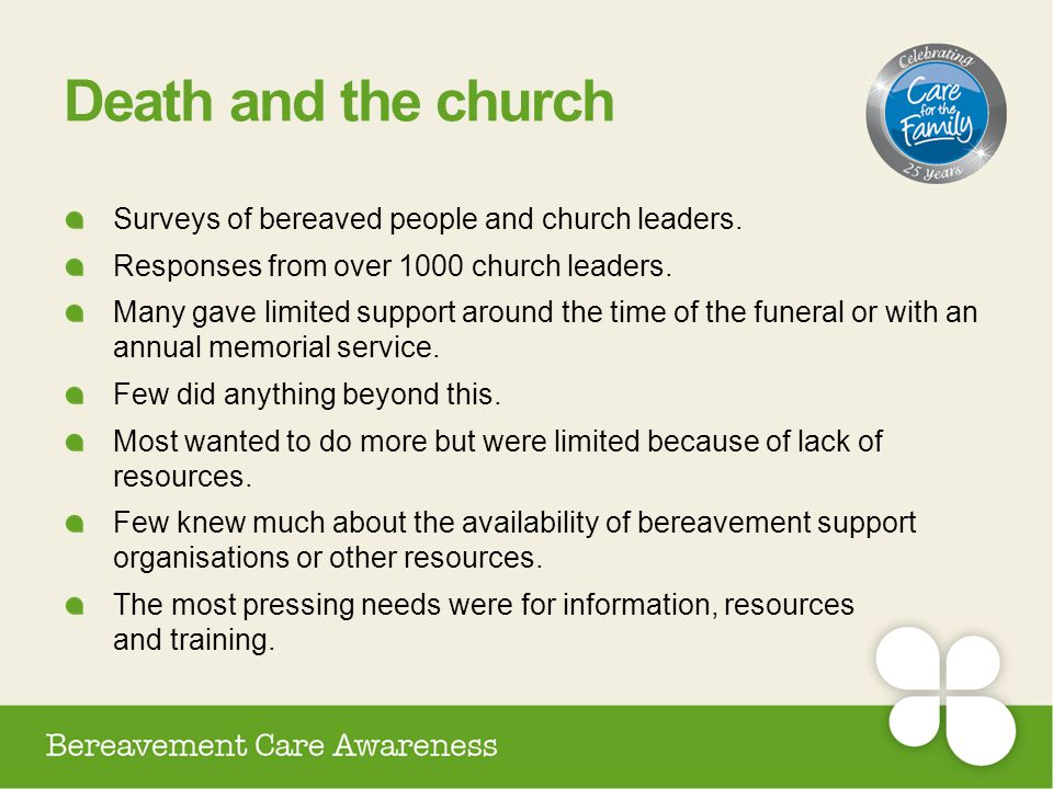Death and the church Surveys of bereaved people and church leaders.