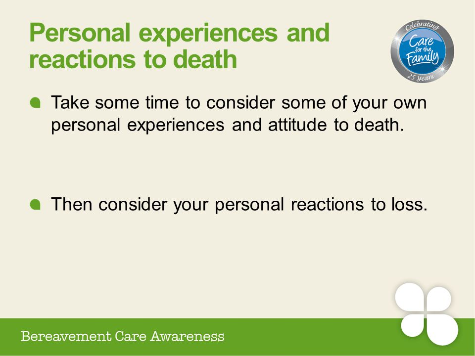 Personal experiences and reactions to death